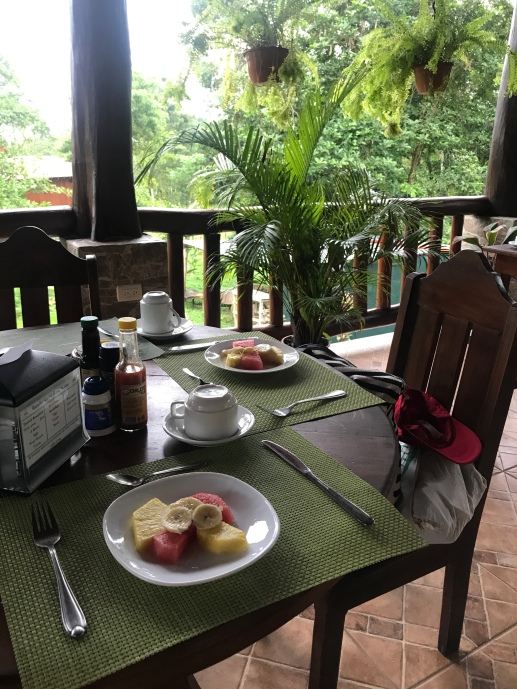 Breakfast from hotel patio.